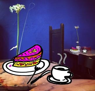 una tarta en el cafe Belen