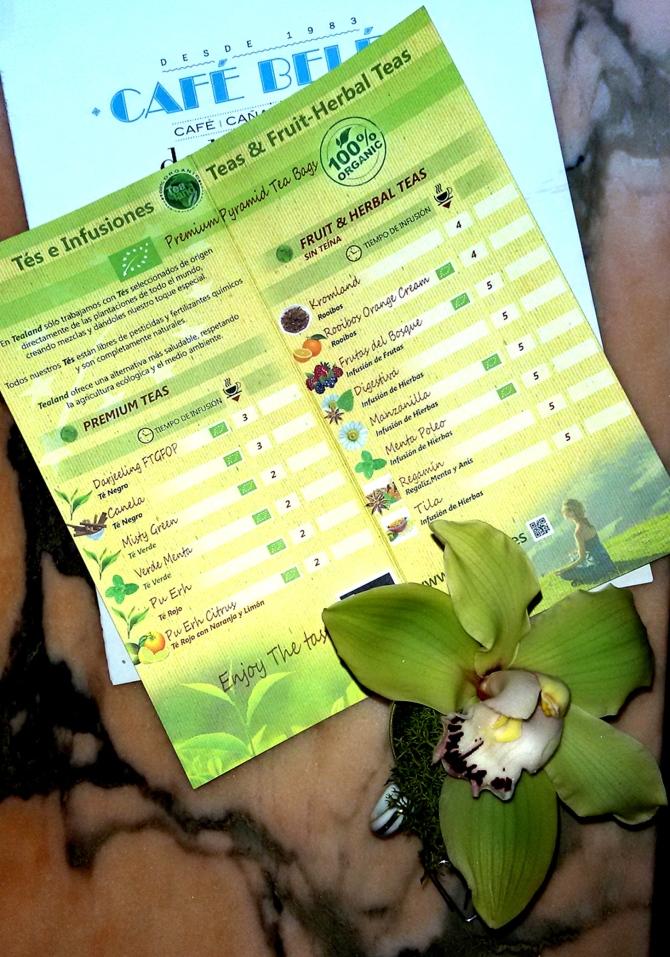 amplia carta de tés orgánicos